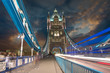 Tower Bridge at Night with car light trails - London
