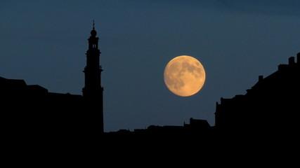 Nederland Westerkerk moonrise