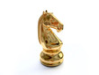 3D Golden Chess Horse Figure