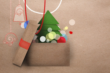 Open cardboard box with colorful lights