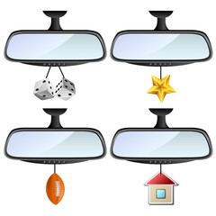 Car mirror set with different decorations