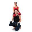 Sporty couple portrait with boxing fighting gloves