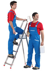 Two painters with step-ladder