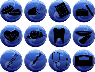 medical icons on buttons