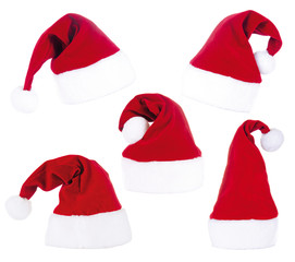 5 Santa Claus Hats isolated on white
