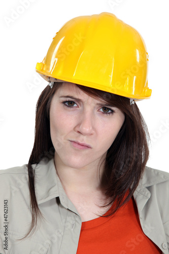 Confused construction worker