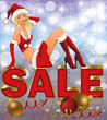 Christmas sale background with Santa girl, vector Illustration