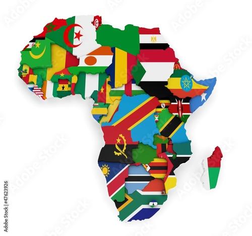 Carte d'Afrique avec les drapeaux des pays