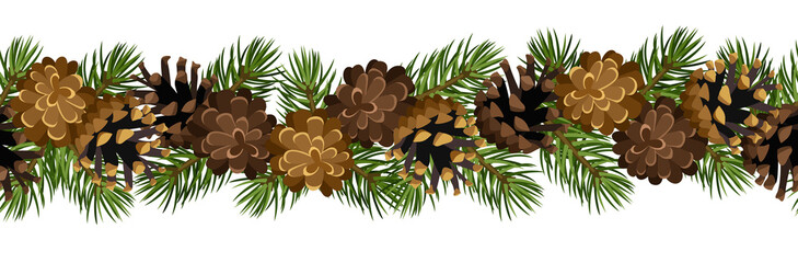 Vector horizontal seamless background with cones.