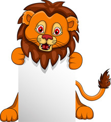 funny Lionn cartoon with blank sign