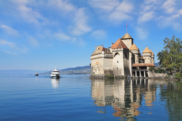The Château de Chillon and tourist motor ship