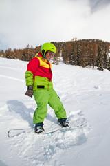 lady snowboarder