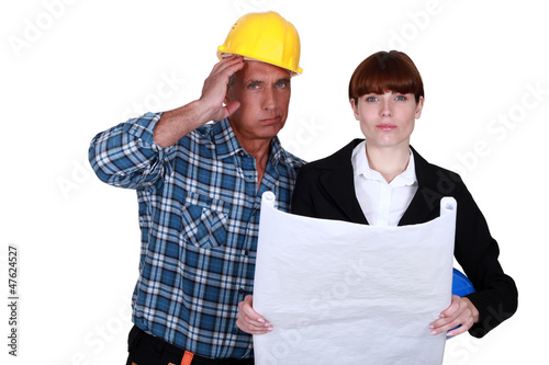 Stressed architect and foreman