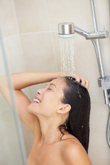 Washing hair - shower woman