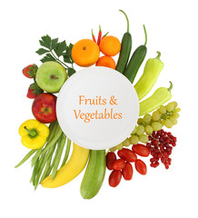 Empty plate with fruits and vegetables around it