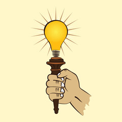 bulb torch in hand stock vector