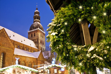 Riga Cathedral with Xmas decoration