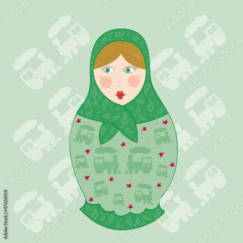 poupée russe verte et bordeaux fond