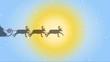 Rentierschlitten fliegt an strahlender Wintersonne vorbei