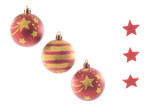 Three Christmas Balls and Three Stars