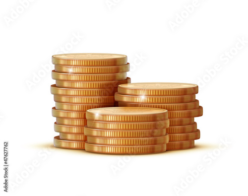 stacks of golden coins