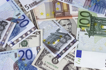 dollar bill combined with Euros
