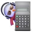 Snowman in headphones behind calculator