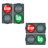 Stop and Go traffic light sign symbol button upload download