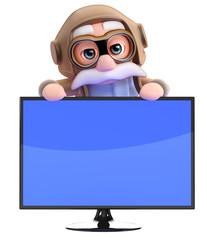 Pilot stands behind flatscreen monitor
