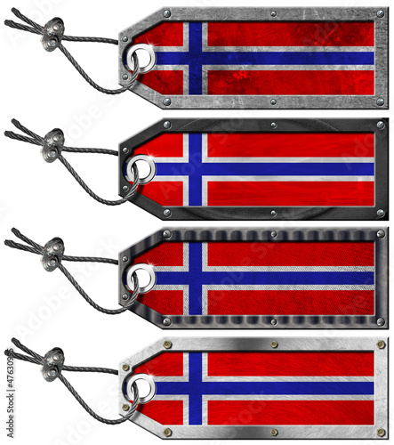 Norway Flags Set of Grunge Metal Tags