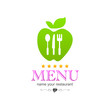 Kitchen apple colored menu logo icon sign