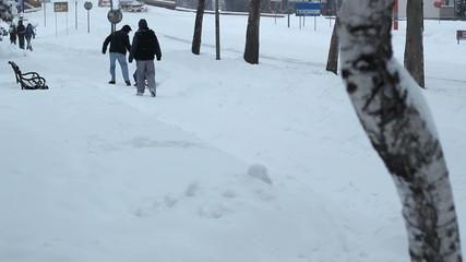 People Enjoying the Snow