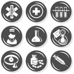 zdrowie medycyna badania zestaw ikon szary monochrom