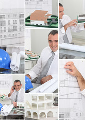 Mosaic of architect hard at work in his office