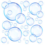 Transparent blue soap bubbles