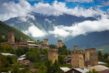 Svan towers in Mestia. Svaneti, Georgia