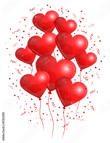 Flying Red Heart Balloons