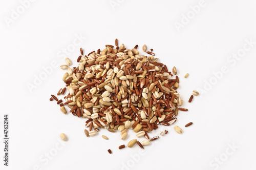 Cinque cereali su fondo bianco