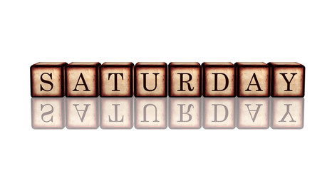 saturday in 3d wooden cubes banner