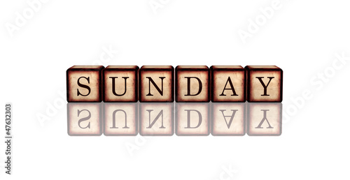 sunday in 3d wooden cubes banner