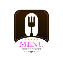 Menu kitchen colored sign logo