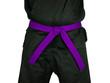 Karate Purple Belt Tied Around Torso Black Uniform