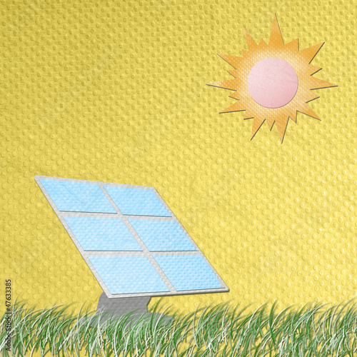 solar cell panel against the sun made from tissue papercraft