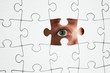 Human Resources concept: Business person through missing jigsaw