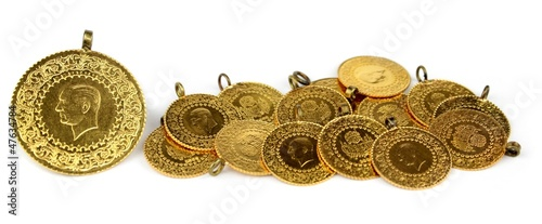 Gold coins. ( Turkish gold coins ).