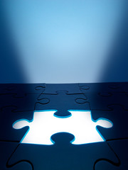 Light coming from the missing jigsaw puzzle: business / human re