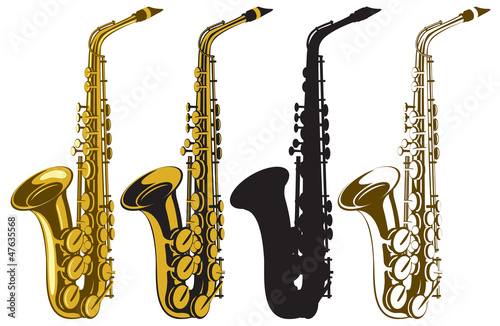 vector set of four saxophones - 47635568