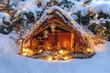 Leinwandbild Motiv festliche Weihnachtskrippe