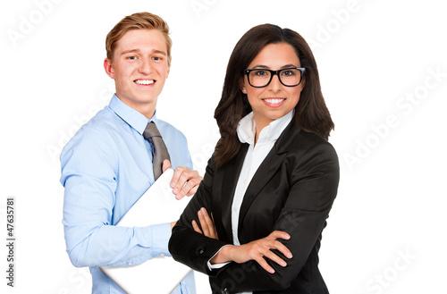 geschäftsfrau und geschäftsmann