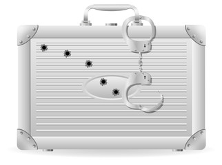 metal suitcase with handcuffs riddled with bullets vector illust
